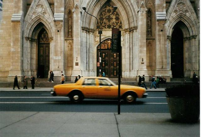 Yellow Cab in front of St. Patrick's Cathedral