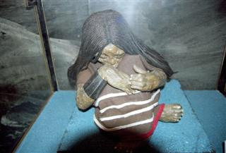 replica of the mummy of a child